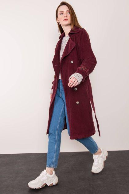 Bordowy sztruksowy płaszcz BSL