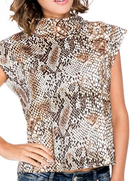 Brązowa bluzka z motywem snake print                                  zdj.                                  5