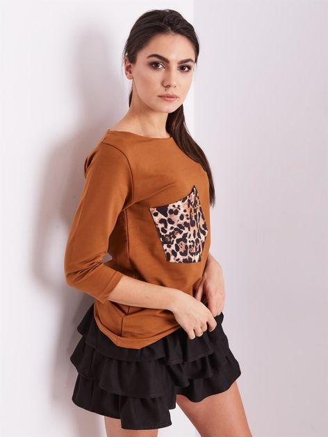 Brązowa bluzka z motywem zwierzęcym                              zdj.                              7