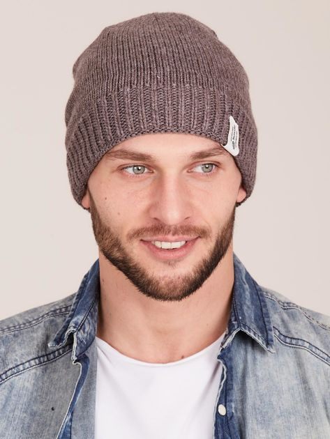Brązowa czapka męska z motywem geometrycznym                              zdj.                              1