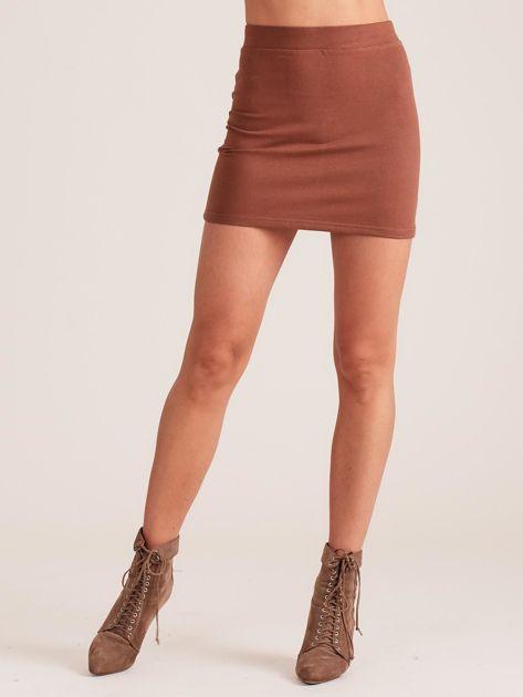 Brązowa dresowa spódnica mini                              zdj.                              5