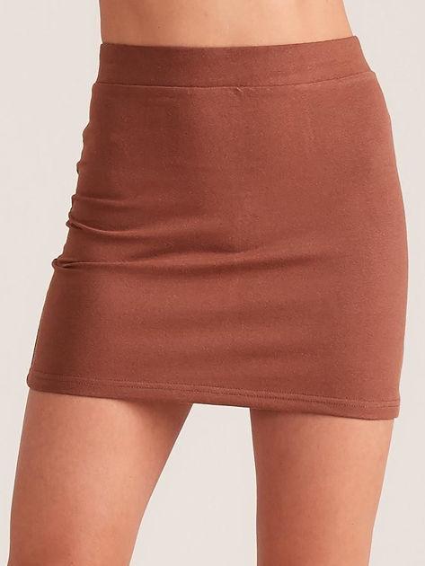 Brązowa dresowa spódnica mini                              zdj.                              1