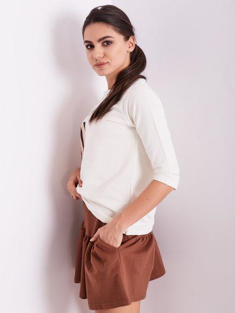 Brązowa dresowa spódnica z falbaną                               zdj.                              8