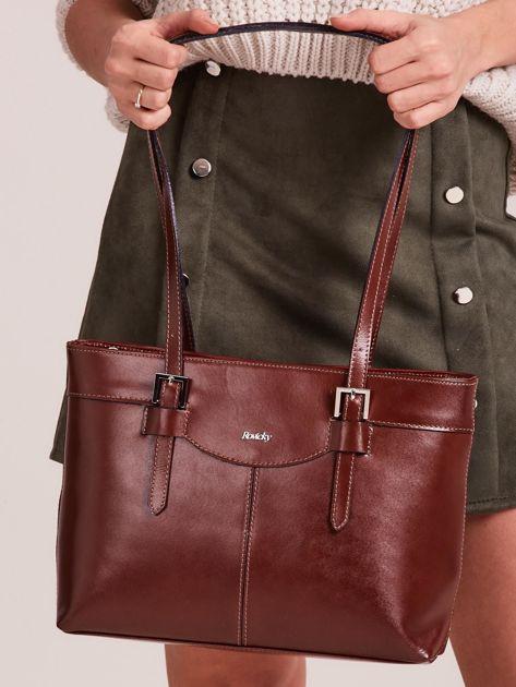 Brązowa elegancka torebka za skóry                              zdj.                              1