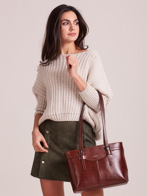 Brązowa elegancka torebka za skóry                              zdj.                              4