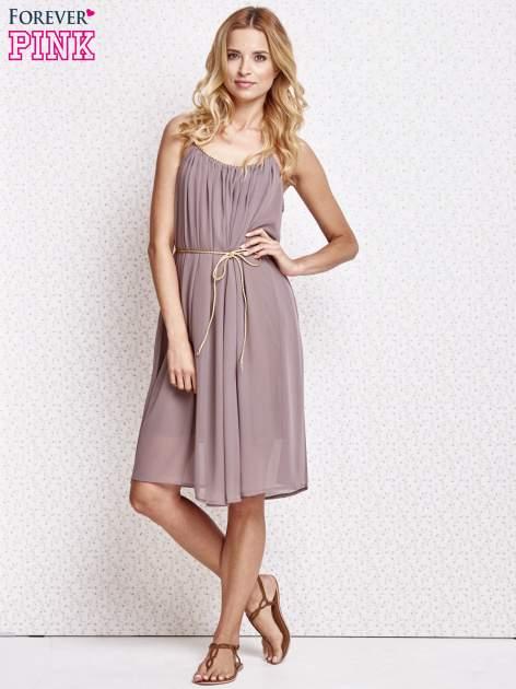 Brązowa grecka sukienka ze złotym paskiem                                  zdj.                                  2