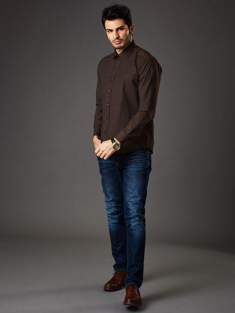 Brązowa koszula męska w kropki regular fit                              zdj.                              6