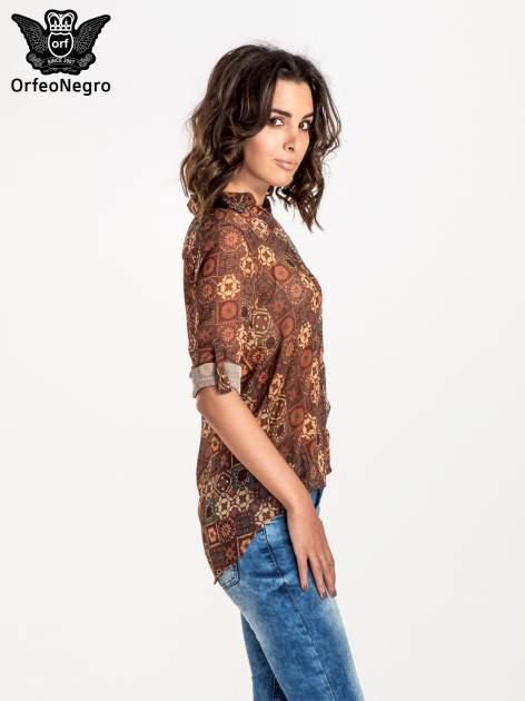 Brązowa koszula w kwiatowe ornamenty                                  zdj.                                  3