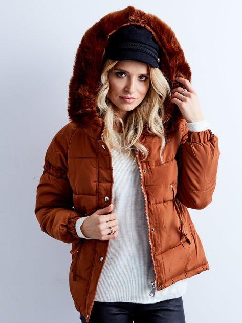 Brązowa kurtka zimowa pikowana                              zdj.                              6