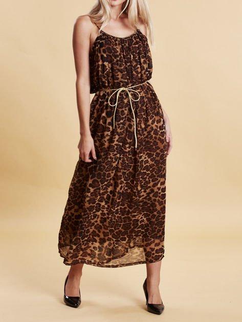 Brązowa panterkowa sukienka maxi na złotych ramiączkach                                  zdj.                                  4