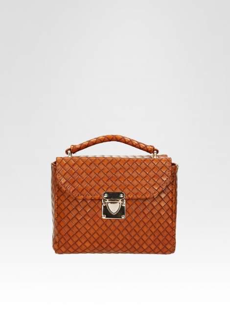 Brązowa pikowana mini torebka kuferek w stylu retro