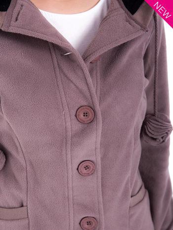 Brązowa polarowa bluza z kapturem z uszkami                                  zdj.                                  6