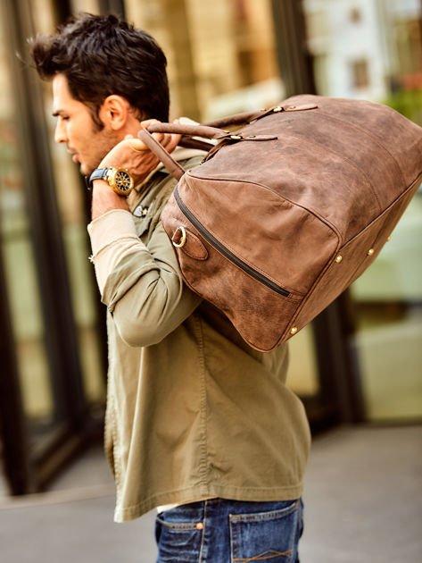Brązowa skórzana męska torba podróżna                              zdj.                              3