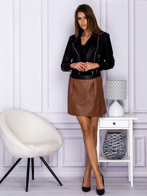 Brązowa skórzana spódnica mini z kieszeniami                                  zdj.                                  4
