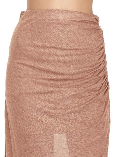 Brązowa spódnica maxi z drapowaniem i rozporkiem z boku                                   zdj.                                  5