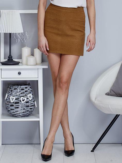 Brązowa spódnica trapezowa z suwakiem                              zdj.                              1