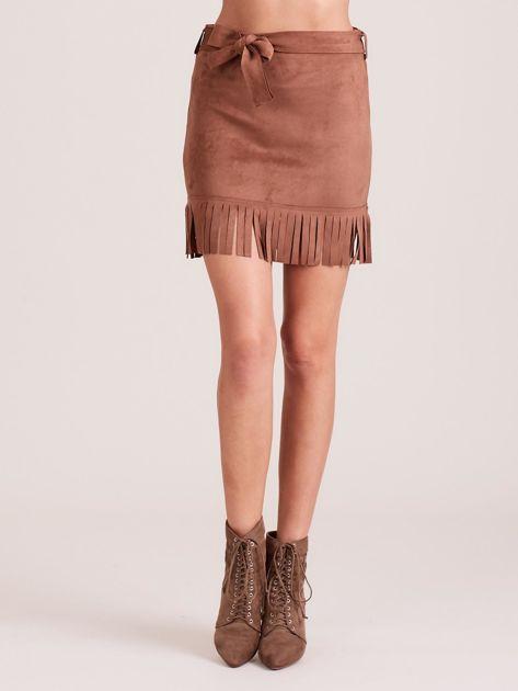 Brązowa spódnica z frędzlami                              zdj.                              5