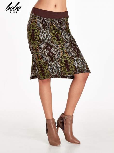 Brązowa spódnica z nadrukiem ornamentowym                                  zdj.                                  1