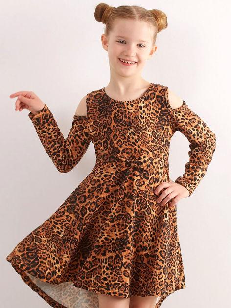Brązowa sukienka dziecięca w panterkę