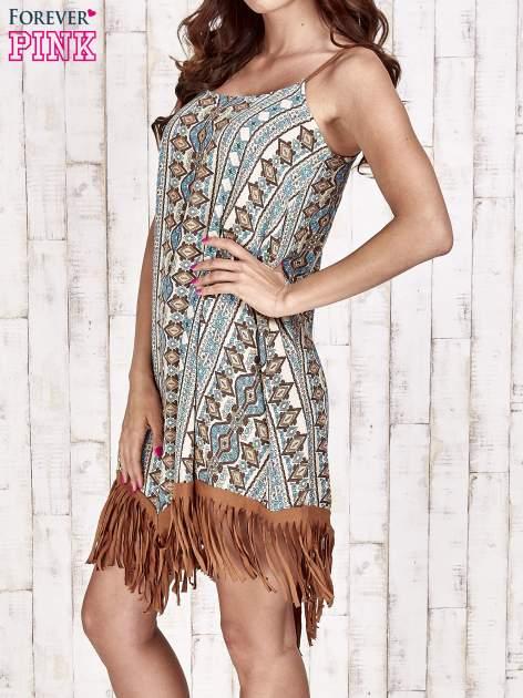 Brązowa sukienka w etniczne wzory z frędzlami                                  zdj.                                  3