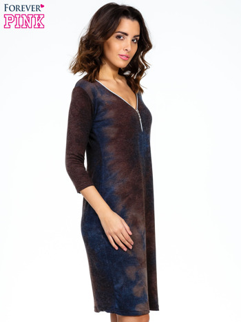 Brązowa sukienka z rękawem 3/4                                  zdj.                                  3