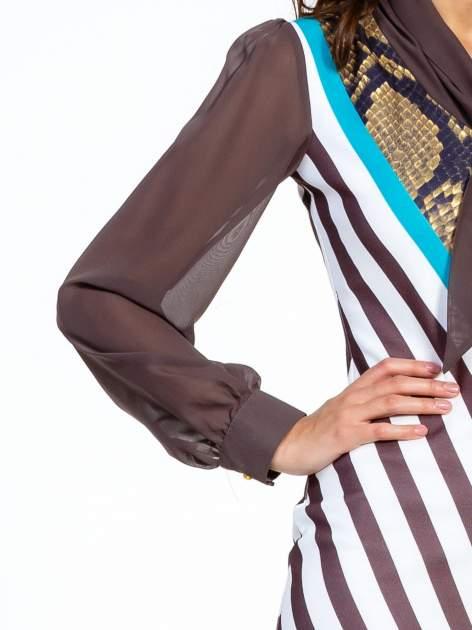 Brązowa sukienka z  wiązaniem przy dekolcie i nadrukiem skóry węża                                  zdj.                                  5