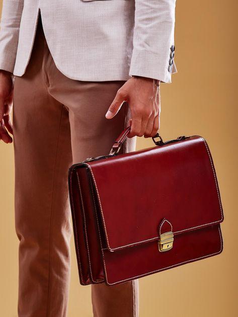 Brązowa torba aktówka męska z odpinanym paskiem                              zdj.                              1