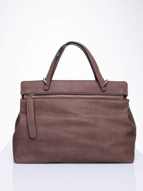 Brązowa torba do ręki z klamerką                                  zdj.                                  2