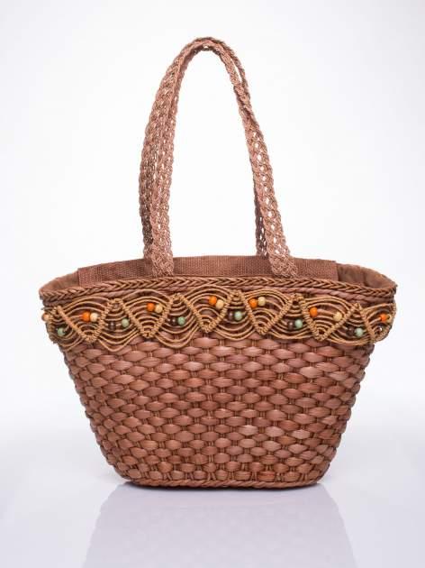 Brązowa torba koszyk plażowy z frędzlem                                  zdj.                                  4