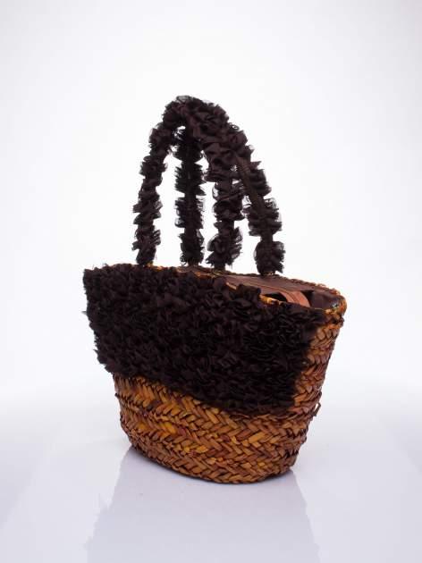 Brązowa torba koszyk plażowy z ozdobnymi kwiatami                                  zdj.                                  3