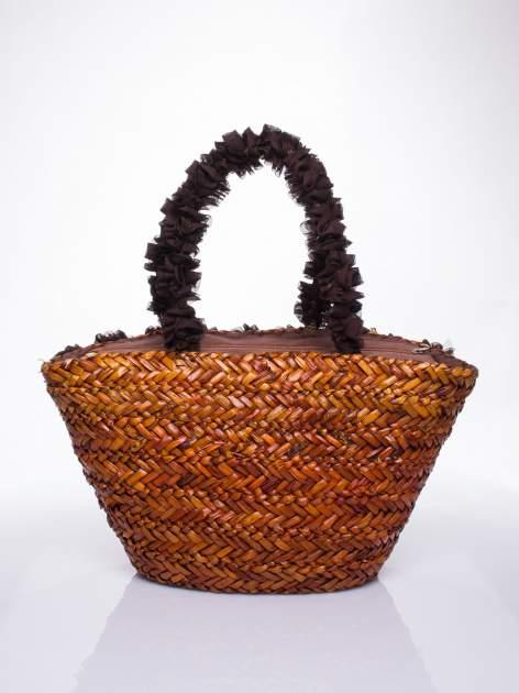 Brązowa torba koszyk plażowy z ozdobnymi kwiatami                                  zdj.                                  4