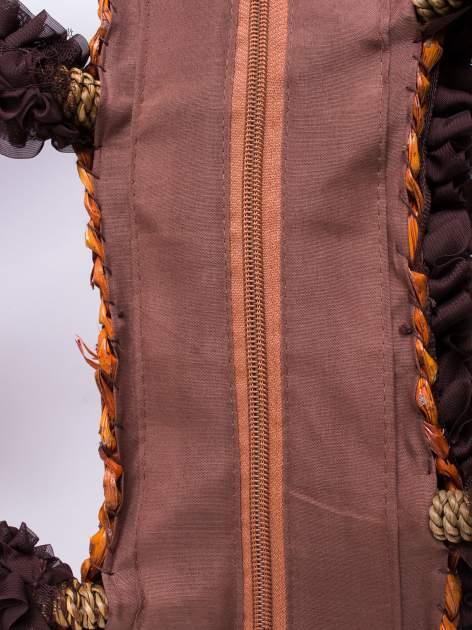 Brązowa torba koszyk plażowy z ozdobnymi kwiatami                                  zdj.                                  5