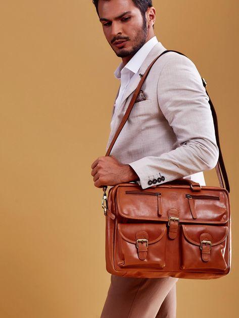 Brązowa torba męska z odpinanym paskiem                              zdj.                              9