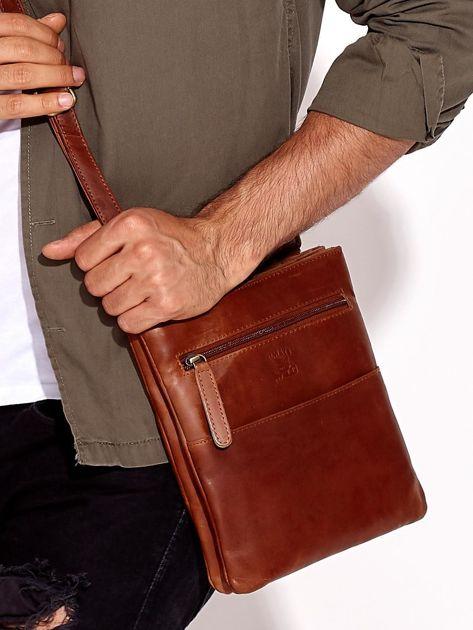 21331d7e25c0f Brązowa torba męska ze skóry naturalnej z dzielonymi komorami ...