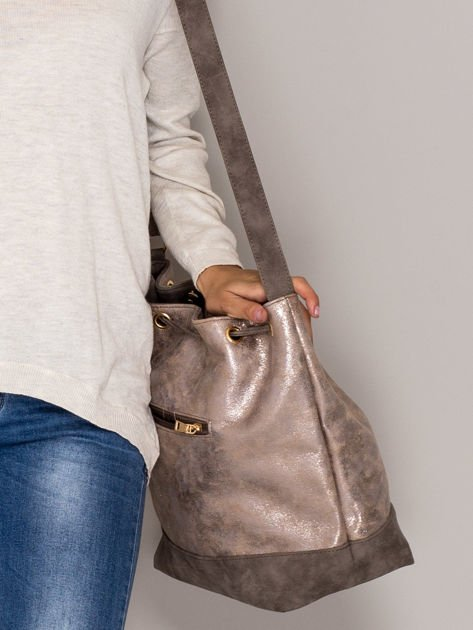 Brązowa torba ze ściągaczem                                  zdj.                                  2