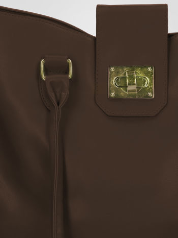 Brązowa torebka city bag z zatrzaskiem                                  zdj.                                  8