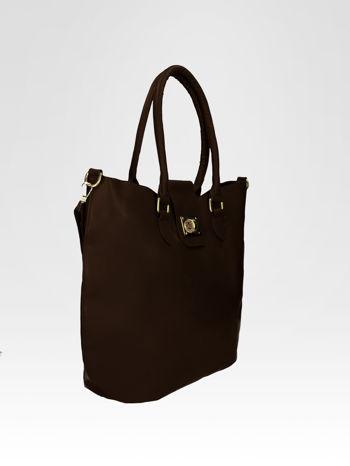Brązowa torebka city bag z zatrzaskiem                                  zdj.                                  2