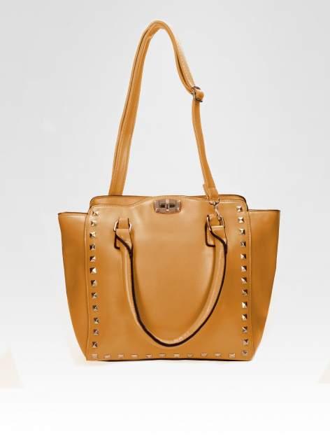 Brązowa torebka na ramię z dżetami                                  zdj.                                  4