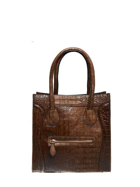 Brązowa trapezowa torba miejska z efektem skóry krokodyla                                  zdj.                                  3