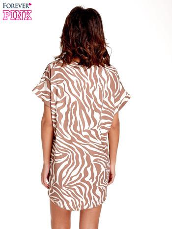 Brązowa tunika ze wzorem zebry                                  zdj.                                  4