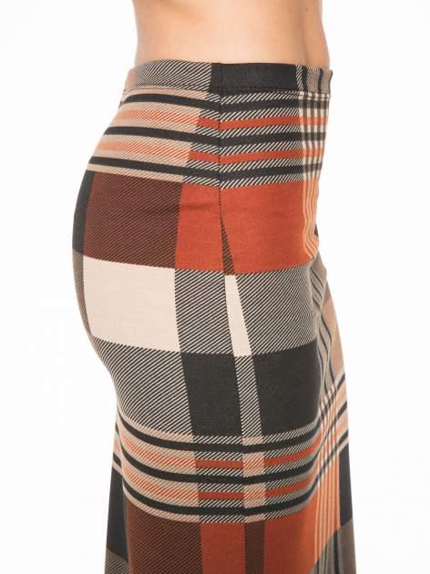 Brązowa wełniana ołówkowa spódnica w geometryczny nadruk                                  zdj.                                  8