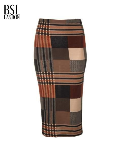 Brązowa wełniana ołówkowa spódnica w geometryczny nadruk                                  zdj.                                  5
