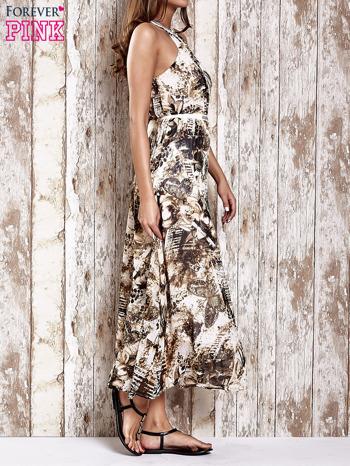 Brązowa wzorzysta sukienka maxi z dżetami                                   zdj.                                  3