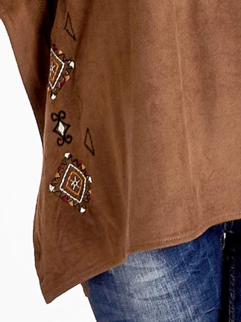 Brązowa zamszowa bluzka z haftem w stylu boho                                  zdj.                                  5