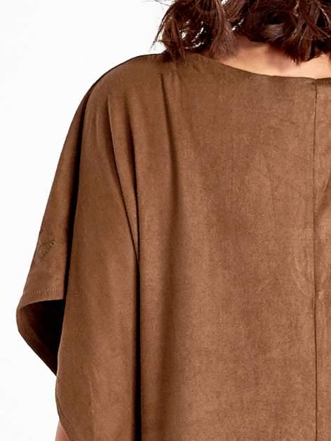 Brązowa zamszowa bluzka z haftem w stylu boho                                  zdj.                                  6