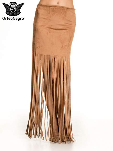Brązowa zamszowa spódnica maxi z frędzlami
