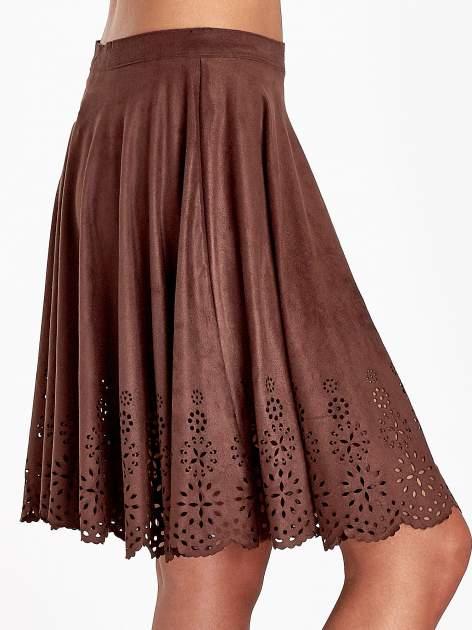 Brązowa zamszowa spódnica w stylu boho                                  zdj.                                  5