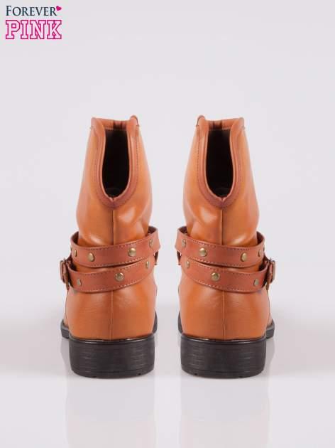Brązowe botki w stylu biker boots                                  zdj.                                  3