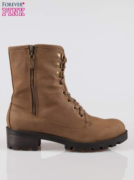 Brązowe botki worker boots z zamkiem z boku                                  zdj.                                  1
