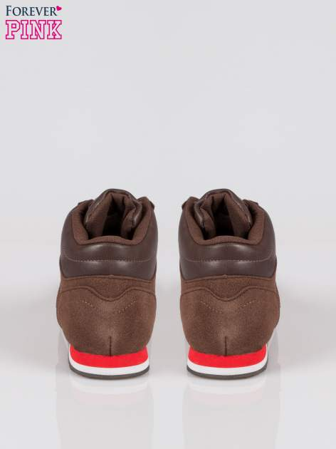 Brązowe buty sportowe faux suede Stylish z imitacji zamszu                                  zdj.                                  3